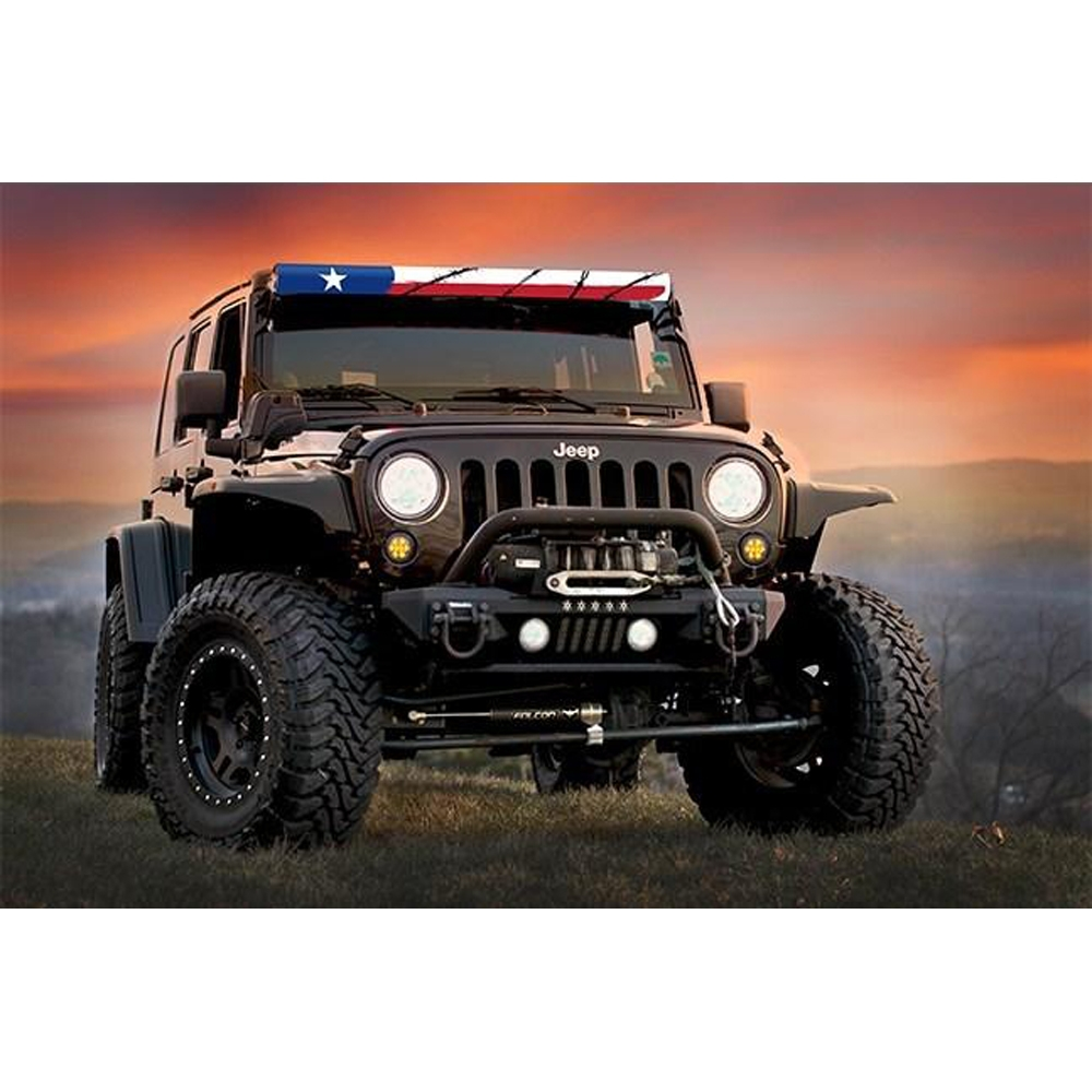 Aerolidz 52 Red White Blue Texas Flag Insert For Dual Row Light Bar Silencer, Exterior Car Parts,