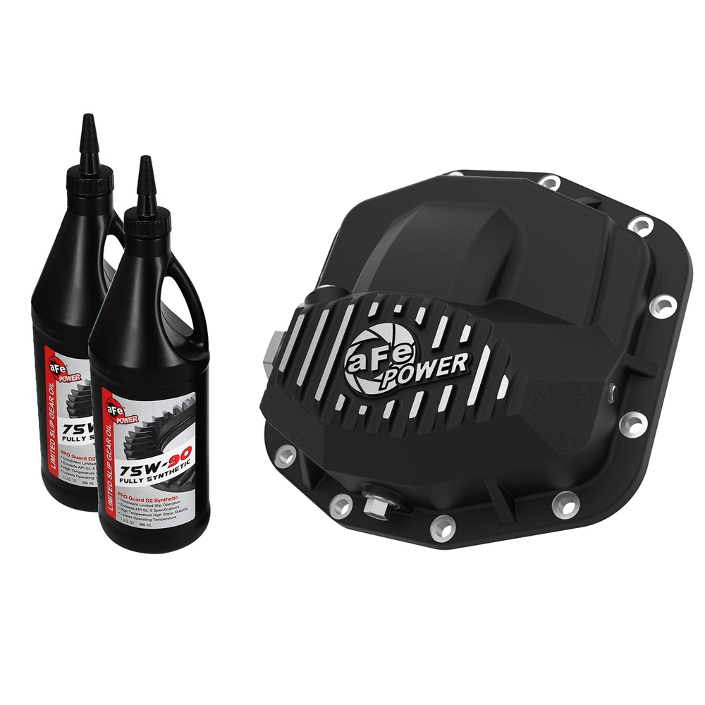Afe Pro Series Front Differential Cover And Gear Oil, Dana M210, Black With Machined Fins |