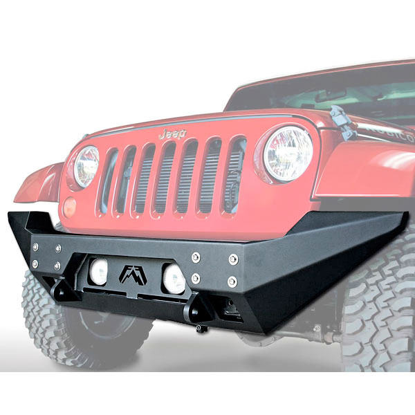 Image of Fab Fours Full Metal Jacket Full Width Front Winch Bumper With D-Ring Mounts - Matte Black Powder Coat