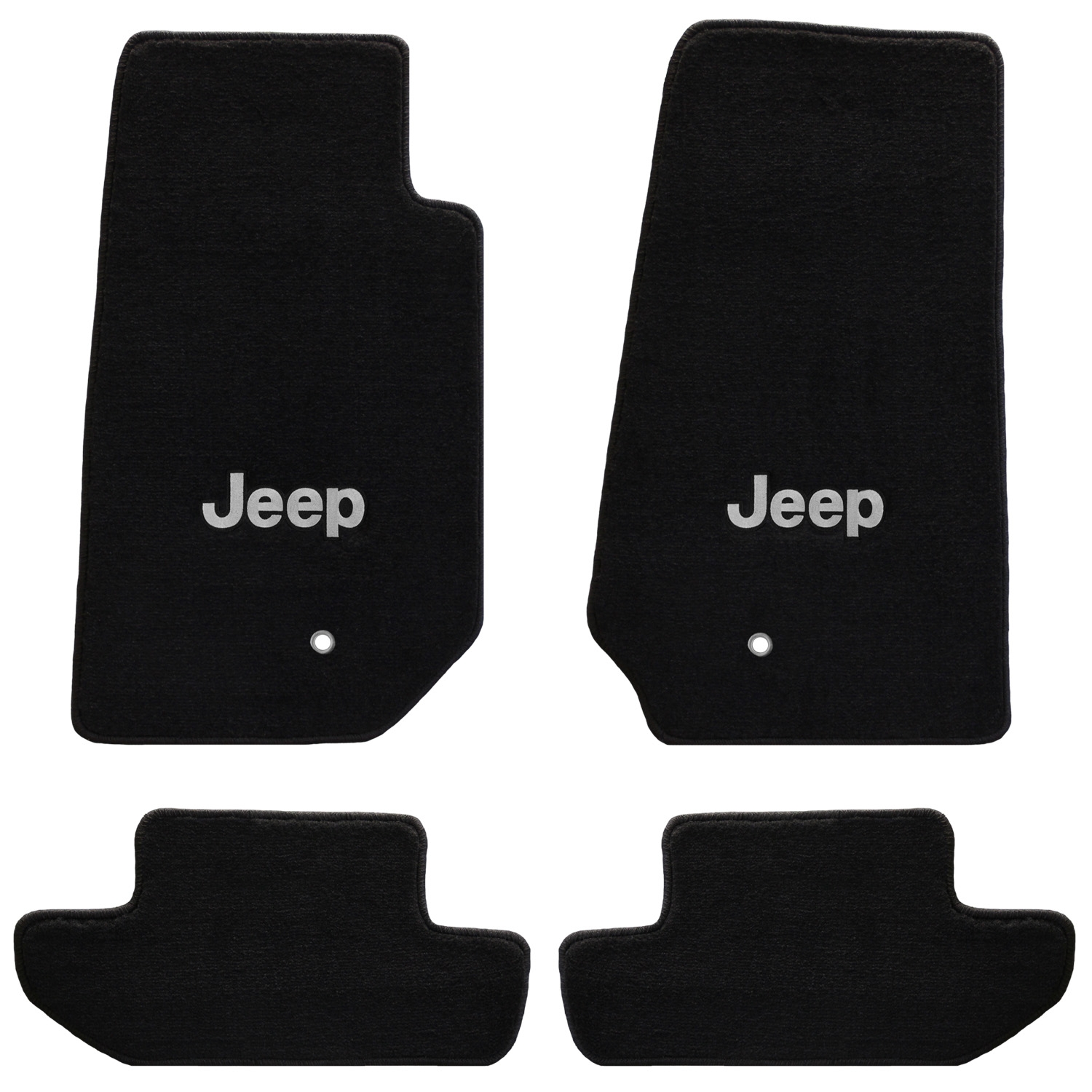 Image of Lloyd Mats All Weather Black Front And Rear Floor Mat Set, Front With Silver Jeep Logo - 4 Piece Set