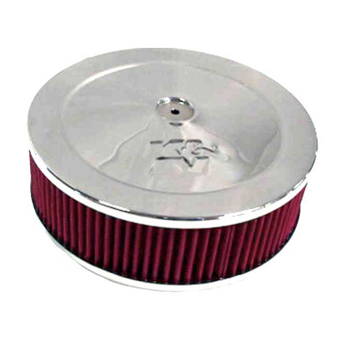 """Image of K&n Air Cleaner Assembly, 9"""" Round With 5-1/8"""" Neck Flange - Chrome"""
