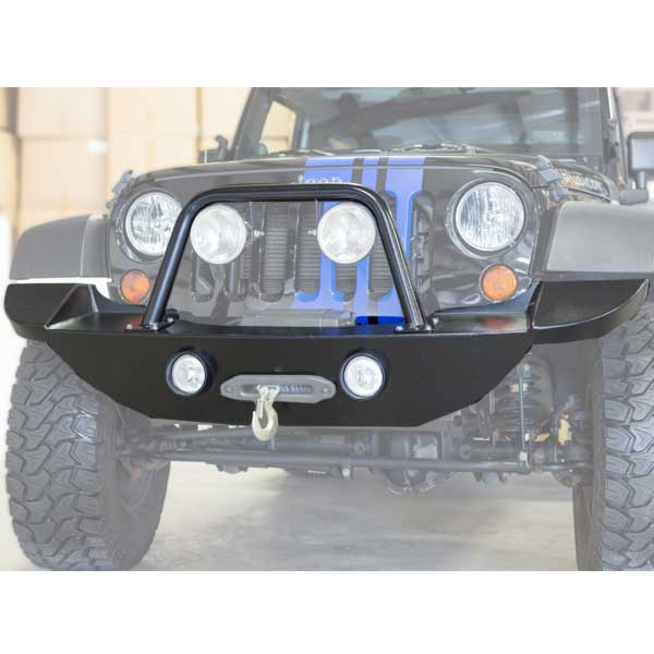 Image of Lange 27 Special Aluminum Front Bumper With Grill Guard And Winch Plate - Textured Black