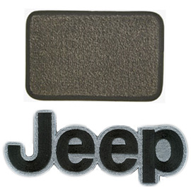 Image of Ultimat Floor Mats 4 Piece Set Sand Grey Mats Front W/ Black Jeep Logo, Rears No Logo, & Without Driver's Left Foot Rest