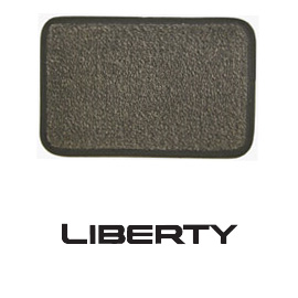 Image of Ultimat Floor Mats 4 Piece Set Sand Grey Mats Front With Black Liberty Logo, Rears No Logo, & Driver's Left Foot Rest.
