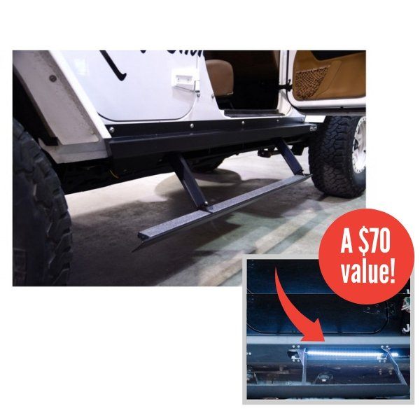 Jeep Rock Slide Power Step Sliders, Black Textured Powder Coat With Free Step Slider Light Kit, Jk