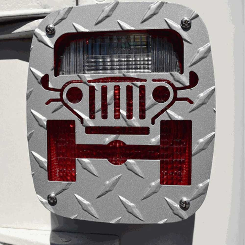 Image of Jeep Tweaks Tail Light Guards, Silver, Pair, Exterior Car Parts | 1976-2006 Jeeps , JT02-S