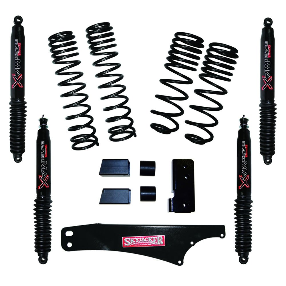 Jeep Skyjacker 2-2.5 Dual Rate Long Travel Lift Kit With Black Max Shocks, Suspension Parts |