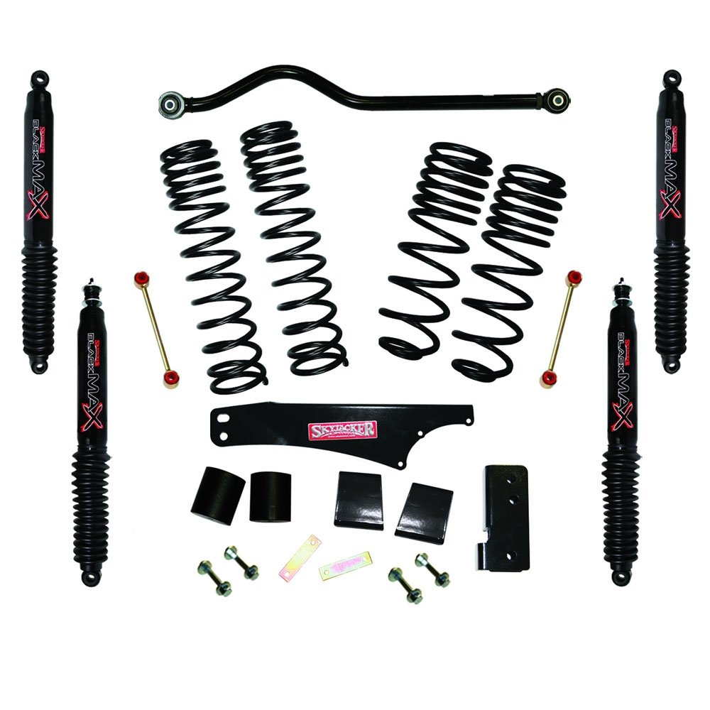Jeep Skyjacker 3.5-4 Dual Rate Long Travel Lift Kit With Black Max Shocks, Suspension Parts |