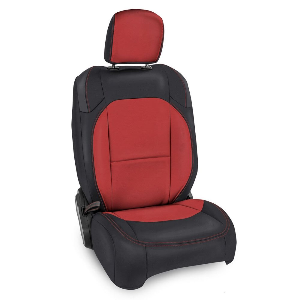 Jeep Prp Front Seat Covers With Pocket Back For Jl 2D Non-Rubicon, Pair, Black And Red | 2018-2019