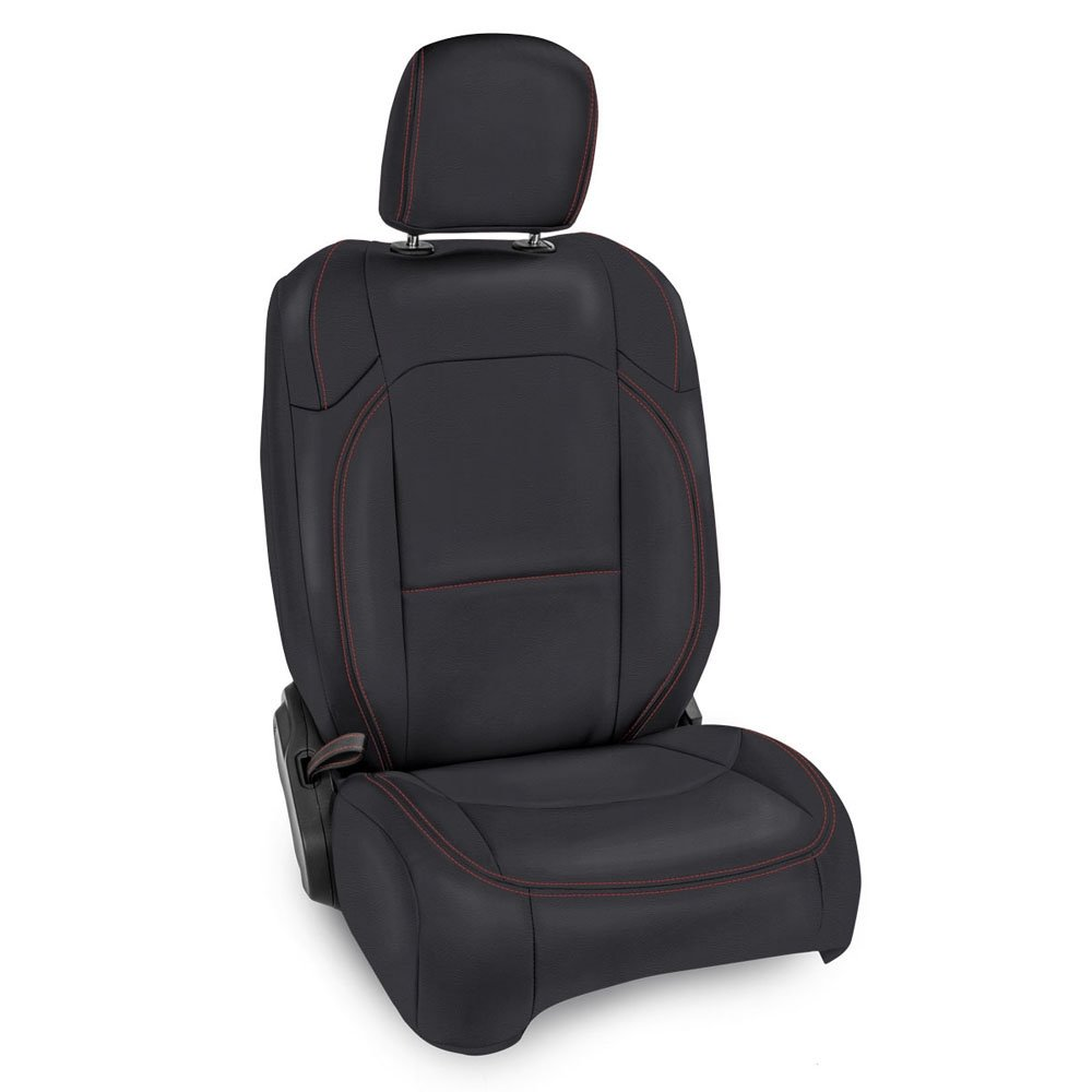 Jeep Prp Front Seat Covers With Pocket Back For Jlu 4D Non-Rubicon, Pair, Black With Red Stitching