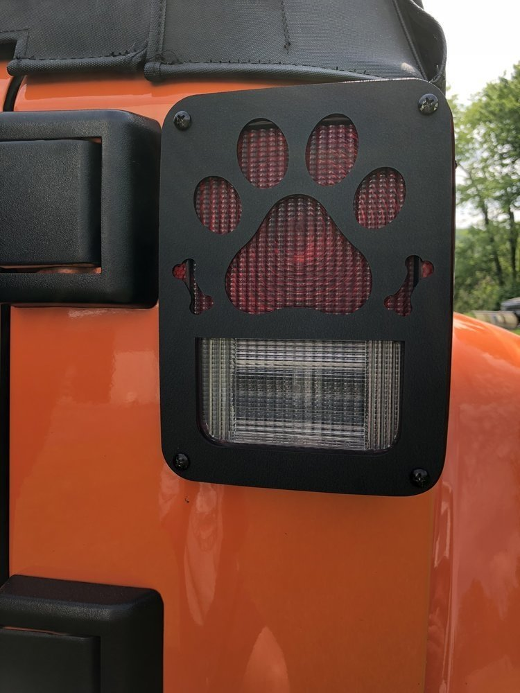 Image of Jeep Tweaks Tail Light Guards, Paw Print, Black Powder Coat, Pair, Exterior Car Parts |
