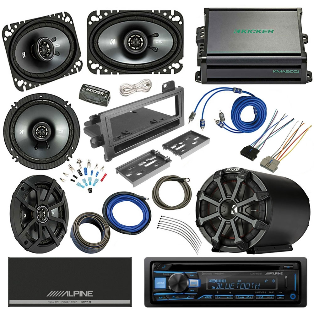 Jeep Tj Sound System With Front & Rear Kicker Speakers And Alpine Cd 50Wx4 High Power Receiver With