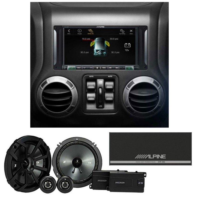 Jeep Jk Sound System Package With Front & Rear Kicker 6.5 Speakers And Alpine I207-Wra 7