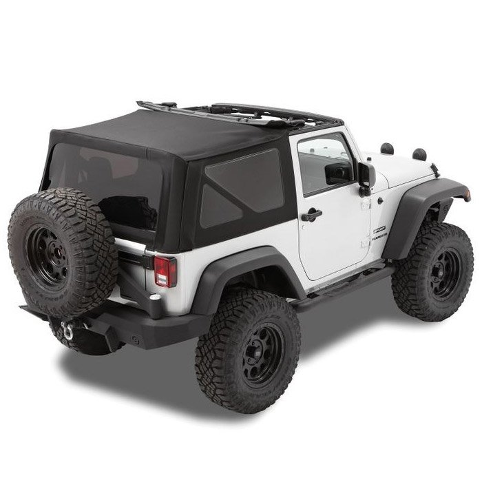 Jeep Bestop Twill Replace-A-Top With Tinted Rear And Side Windows, No Doors, Matte Black, Exterior