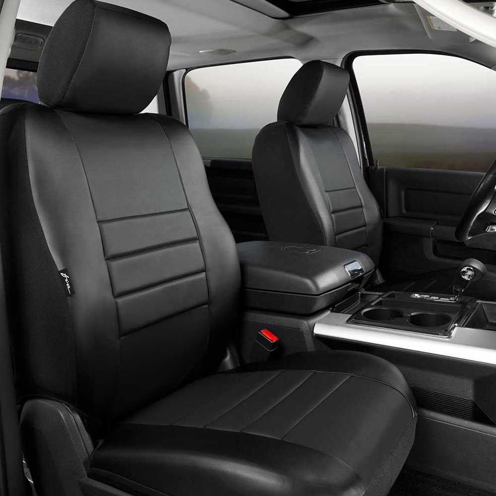 Image of Fia Leatherlite Custom Fit Seat Covers, Front Seat, Solid Black - Pair