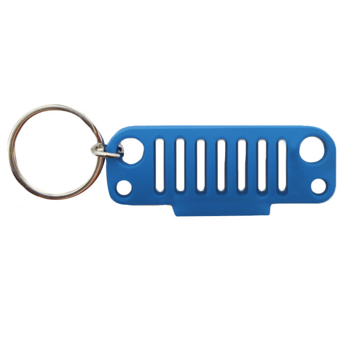Image of Jeeplyfe Front Jk Grille Keychain, Rubber - Blue