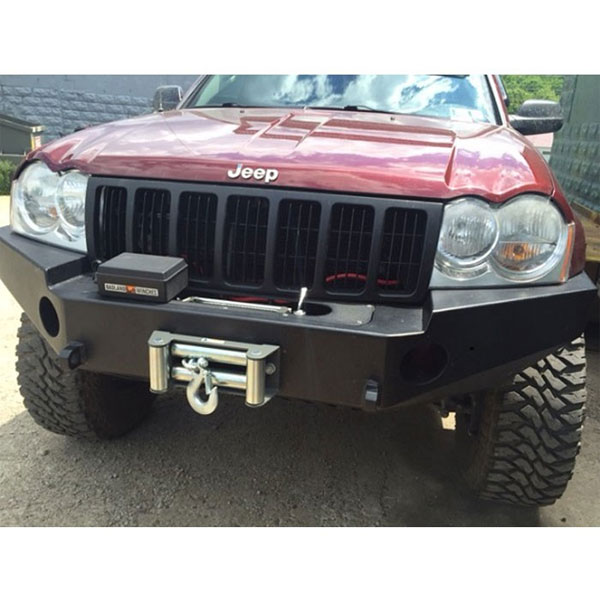 """Image of Logans Metal Front Winch Bumper With 3.5"""" Fog Light Cut Outs, 3/4"""" D-Ring Mounts - Bare Steel"""