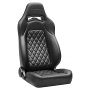 Corbeau Trailcat Reclining Seats, Black Vinyl with Black Diamond Stitching - Pair