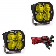 Baja Designs Squadron Sport, Driving/Combo Beam LED Lights, Black with Amber Lens - Pair