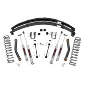 """Rough Country 4.5"""" Suspension Lift Kit with Premium N3 Series Shocks and Rear Leaf Springs for Jeep Cherokee XJ"""