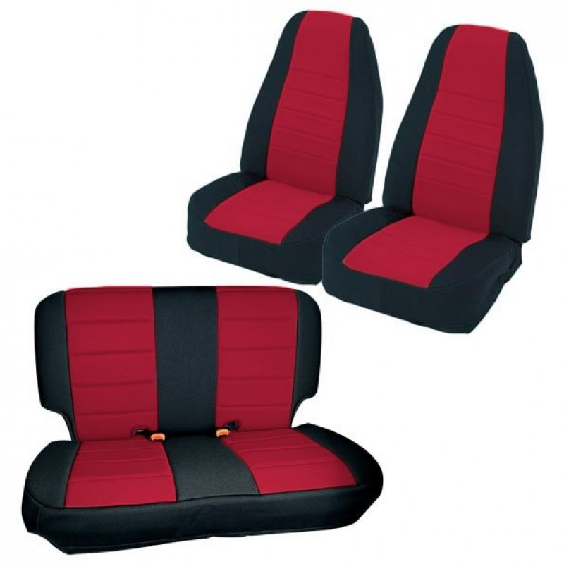 Swell Smittybilt Neoprene Seat Covers Front Rear Set Black With Red Unemploymentrelief Wooden Chair Designs For Living Room Unemploymentrelieforg