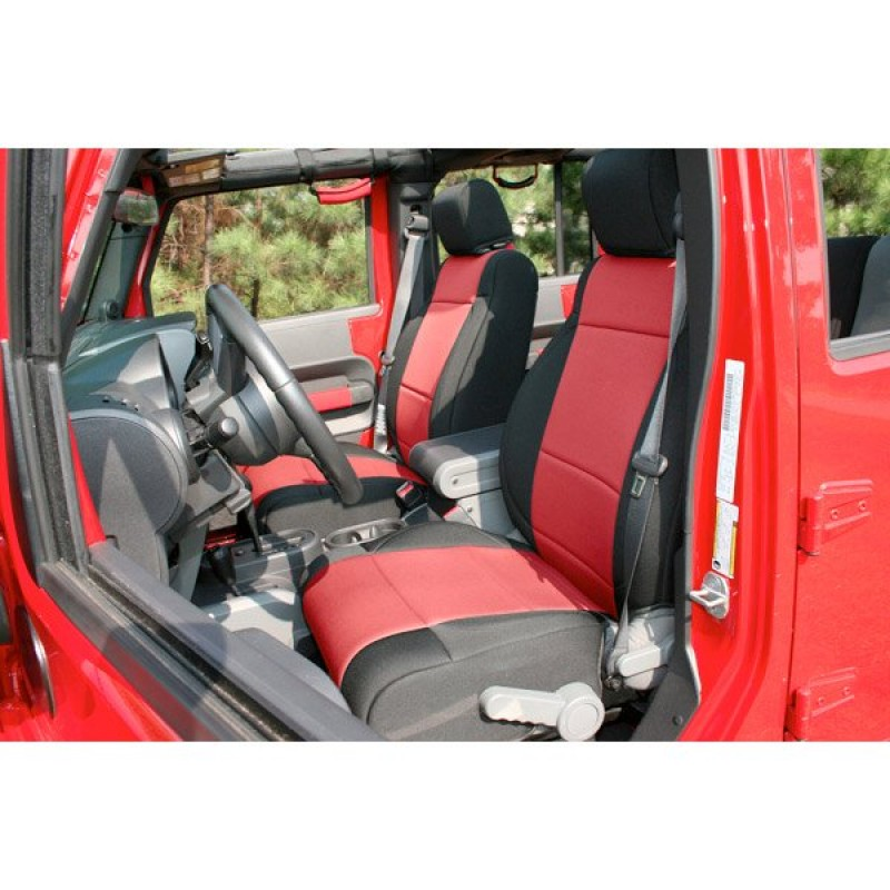 Rugged Ridge Neoprene Front Seat Covers Black Red Pair Best