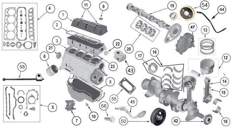 Jeep Engine Parts Diagram - OEM Replacement 2.5 Liter (150) AMC Engine  Valves, Gasket & Hardware For Sale - Morris 4x4 CenterMorris 4x4 Center