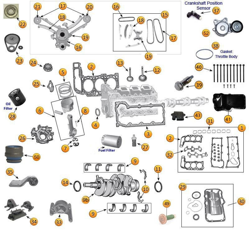 Jeep Engine Parts Diagram - 3.0 & 3.7 Liter Daimler Chrysler Engine OEM  Replacement Parts - Morris 4x4 Center | 2005 Jeep Grand Cherokee Engine Diagram |  | Morris 4x4 Center