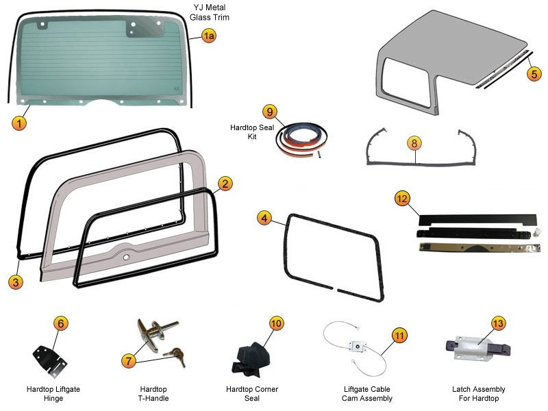 Hardtop Liftgate Gl, Seals & Replacement Parts for ... on jeep yj trailer wiring, jeep yj radio wiring, wrangler hardtop wiring, jeep yj air conditioning wiring,
