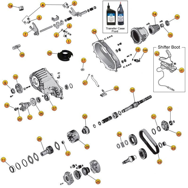 NP 242 Transfer Case Parts for Cherokee XJ, Grand Cherokee ... Np Wiring Diagram on