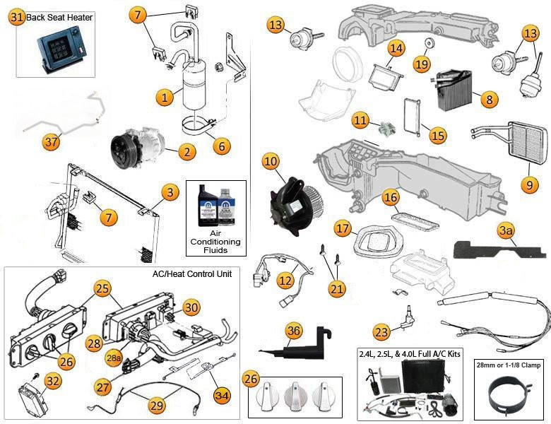 Jeep Wrangler Air Conditioning | Jeep Heater Parts | Hvac System Wiring Diagram 1998 Jeep Wrangler |  | Morris 4x4 Center