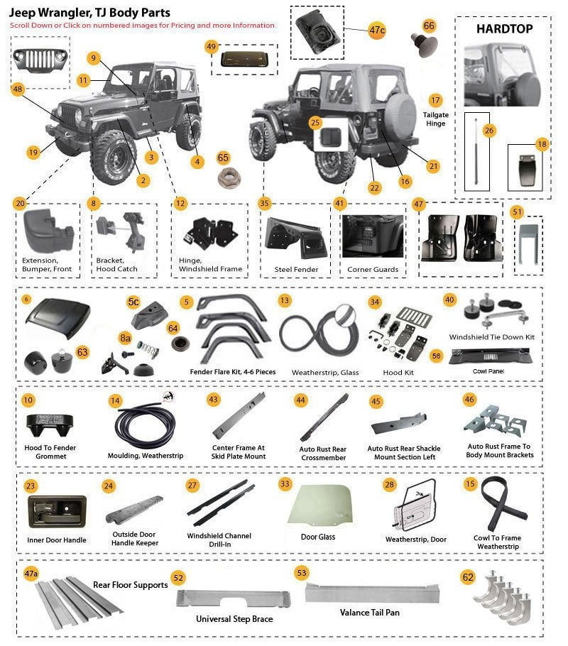 Jeep Wrangler Body Parts And Accessories 97 06 Tj Tjl Morris 4x4 Center