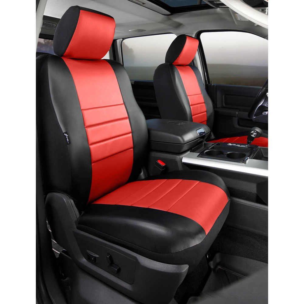 Fia Leatherlite Custom Fit Front Seat Covers Black Red Pair