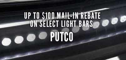 Putco Light Bars Up to $100 Mail-In Rebate