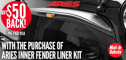 Aries Inner Fender Liners $50 Mail-In Rebate