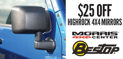 Bestop Highrock 4x4 Mirrors $25 Off