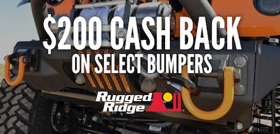 Rugged Ridge Bumpers $200 Cash Back