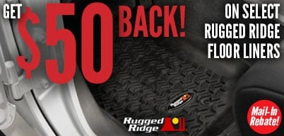 Rugged Ridge Floor Liners $50 Mail-In Rebate