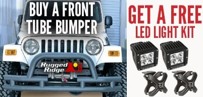 Rugged Ridge Front Tube Bumpers Get Free LED Light Kit