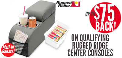 Rugged Ridge Center Consoles - Up to $50 Mail-In Rebate