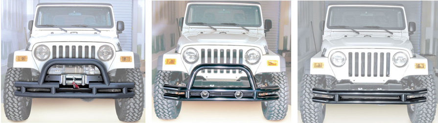 Rugged Ridge Double Tubular Bumper Less than $300 in black powder coat and high gloss
