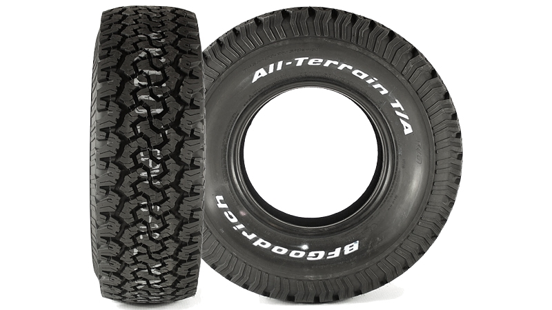 Two BF Goodrich All-Terrain tires