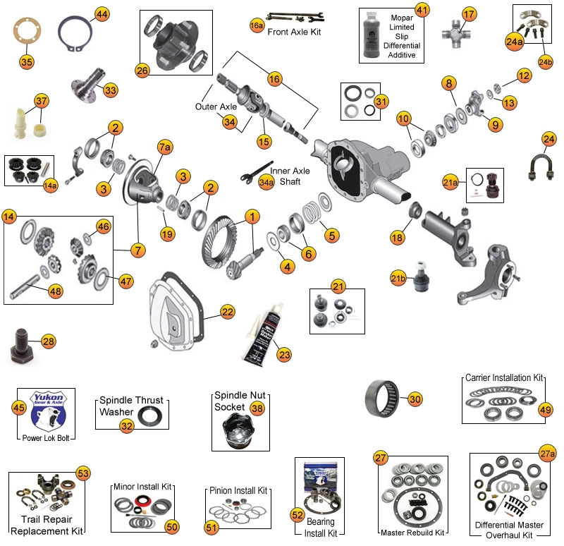 Jeep Dana 30 exploded view diagram