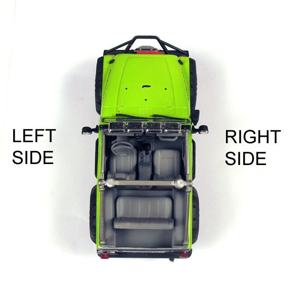 left and right hand sides of the vehicle jeep parts