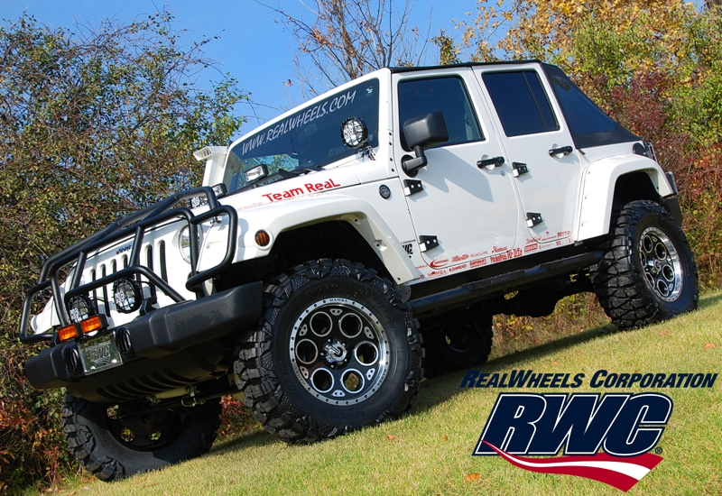 Real Wheels Jeep Accessories On a White Jeep Wrangler