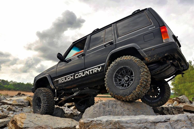 Black Jeep Cherokee with a lift kit